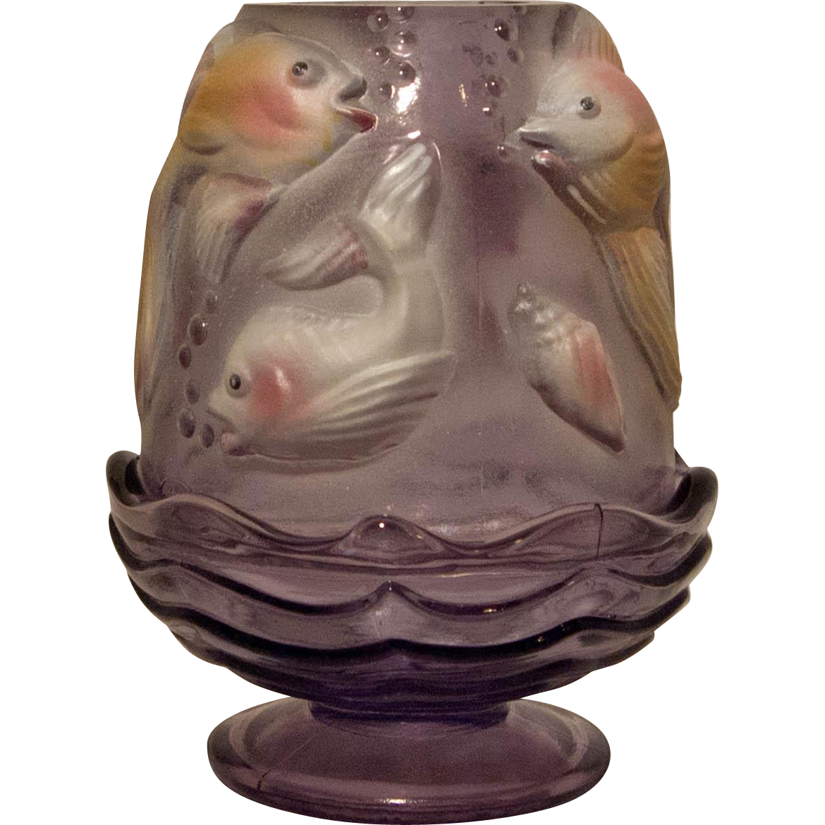 Fenton purple tint koi fish painted fairy lamp mint sold for Purple koi fish for sale