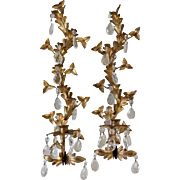 Pair Italian Gilt Leaf Candle Sconces with Crystals