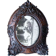 Victorian Carved Dark Oak Picture Frame