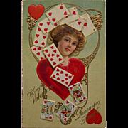 Valentine postcard- Queen of Hearts