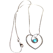 Sterling and Opal Heart Necklace, Israel