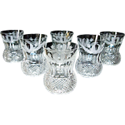 SET 6 Edinburgh Crystal Thistle Cut Whiskey Tumblers