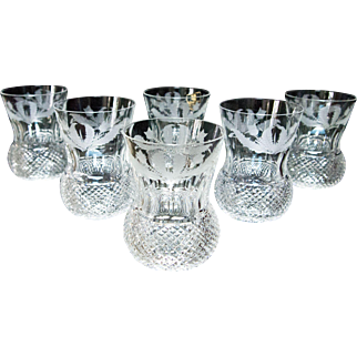 SET 6 Edinburgh Crystal Thistle Cut Whiskey Tumblers