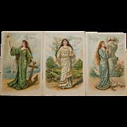 3 Postcards- Hope Innocence Purity,1908