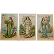 3 Postcards- Hope Innocence Purity,1908