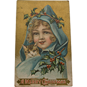 Early Century Christmas Postcard with Cat