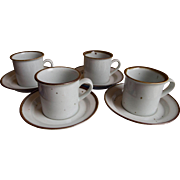 SET of 8 Dansk Brown Mist Coffee Cups and Saucers, NR