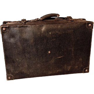 Early Century Leather Travel Suitcase- Downton Abbey- Style