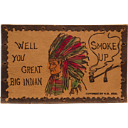 Vintage Leather Postcard, Indian Chief