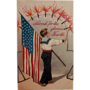 Early Century 4th of July Postcard with Fireworks