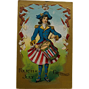 Early 4th of July Postcard with Patriotic Girl
