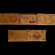 Set of 5 Vintage Leather Postcards, 1906