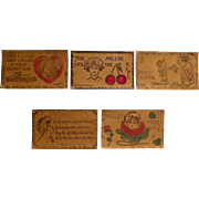Set of 5 Vintage Leather Postcards, 1906