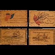 Set 4 Vintage Leather Postcards, 1906