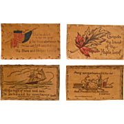 Set 4 Vintage Leather Postcards, 1906