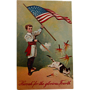 4th of July Postcard with Cat and Fireworks