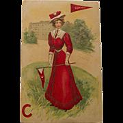 Early Century Cornell Girl Postcard