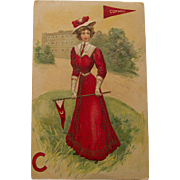 Early Century Cornell Girl Postcard