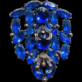 1920's Blue Stone Large Fur Clip