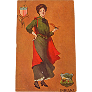 Early century Indiana State Girl Postcard