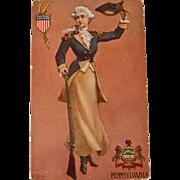 Early century Pennsylvania State Girl Postcard