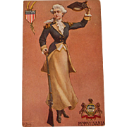 Early century Pennsylvania State Girl Postcard