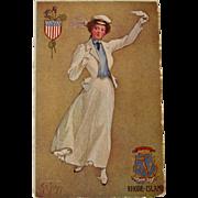 Rhode Island State Girl Postcard, 1907