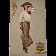 Nebraska State Girl Postcard, St. John, 1906