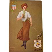 Oregon State Girl Postcard, 1907