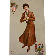 Maine State Girl Postcard,1907