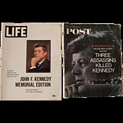 2 Commemorative Magazines of JFK- Life and Post