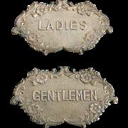 Vintage Ladies/Gentleman Brass Signs from Hotel