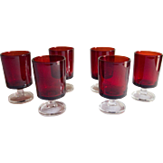 Set of 6 Luminarc Footed Ruby Shot Glasses, France