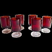 Set of 6 Luminarc Footed Ruby Shot Glasses, France