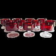 Set of 11 Arcoroc Luminarc Ruby Desserts