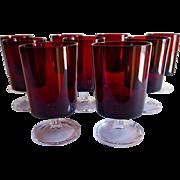 Set 9 Arcoroc Luminarc Ruby Goblets, France