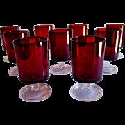 Set of 9 Arcoroc Luminarc Ruby Juice Glasses, France.