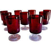 Set of 9 Arcoroc Luminarc Ruby Juice Glasses, France.