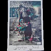 Tinted French Santa Postcard, 1912