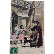 French Santa Postcard,1908