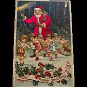 Vintage Red Silk Suit Santa with Angels