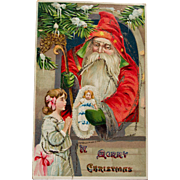 Early Century Father Christmas Postcard with Glitter