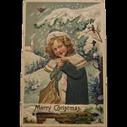 Vintage Christmas Silk Postcard, 1908