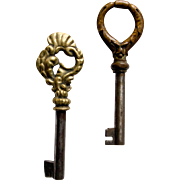 2 Vintage Decorative Skeleton Furniture Keys
