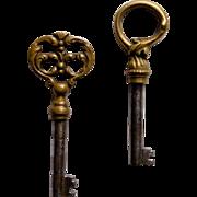 2 Vintage Decorative Skeleton Furniture Keys