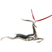 Sterling Leaping Stag Christmas Ornament