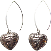 Pair of Sterling Puffy Heart Earrings