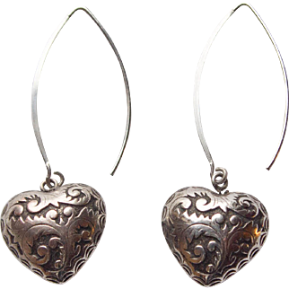 Pair of Sterling Puffy Heart Earrings