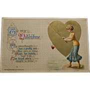 Vintage Valentine, John Winsch,1914, Fishing Theme