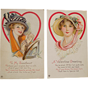 Pair Vintage Beautiful Women Valentine Postcards